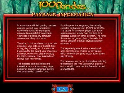 100 Pandas :: Payback Information.