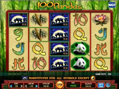 100 Pandas :: Here is an example of a 440 coin multiline jackpot payout.