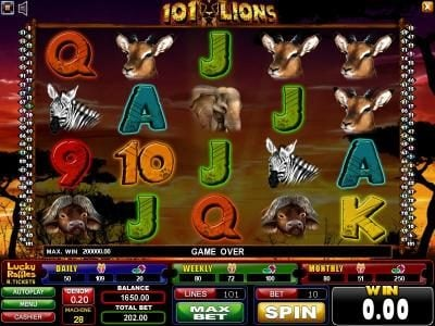Play slots at Casinoval: Casinoval featuring the Video Slots 101 Lions with a maximum payout of $200