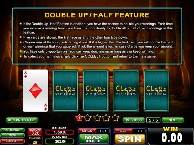 double up/half feature