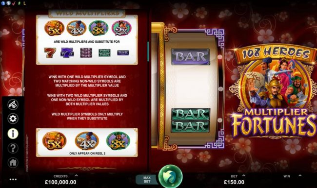 Trada featuring the Video Slots 108 Heroes Multiplier Fortunes with a maximum payout of $100,000