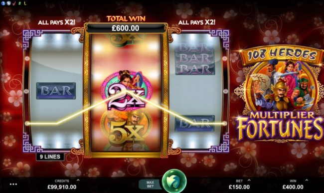 Roxy Palace featuring the Video Slots 108 Heroes Multiplier Fortunes with a maximum payout of $100,000