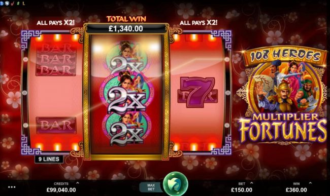 Play slots at CKcasino: CKcasino featuring the Video Slots 108 Heroes Multiplier Fortunes with a maximum payout of $100,000