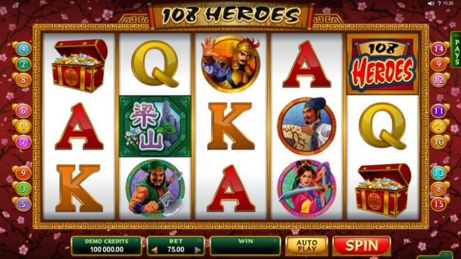 Shadowbet featuring the Video Slots 108 Heroes with a maximum payout of $120,000