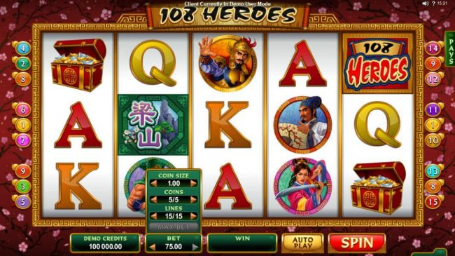 Spinland featuring the Video Slots 108 Heroes with a maximum payout of $120,000