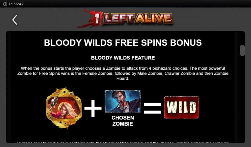 1 Left Alive :: Bloody Wilds Free Spins Bonus
