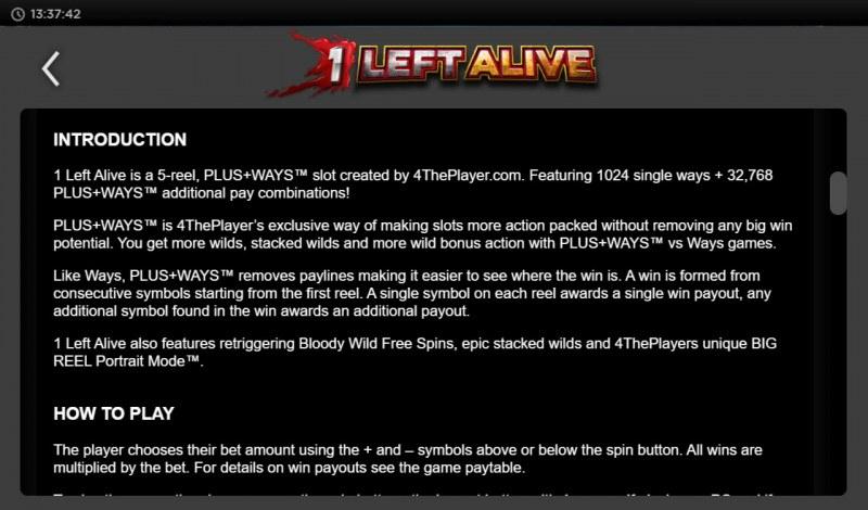 1 Left Alive :: General Game Rules