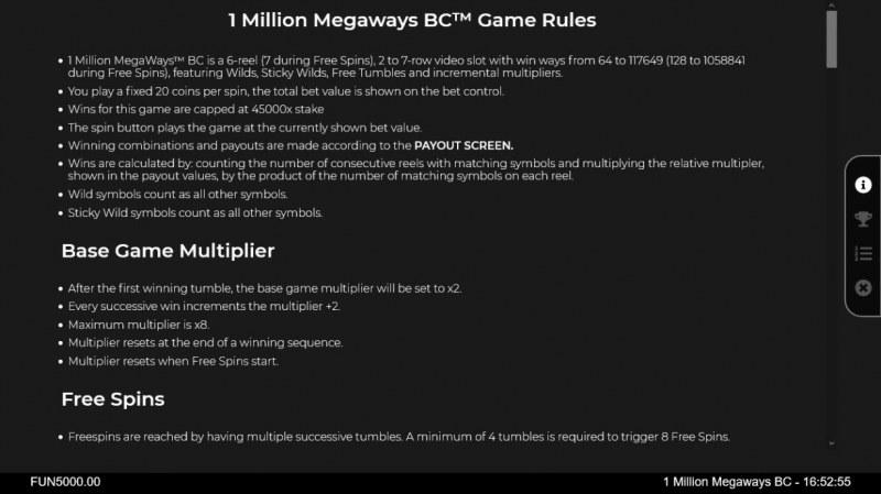 1 Million BC Megaways :: General Game Rules