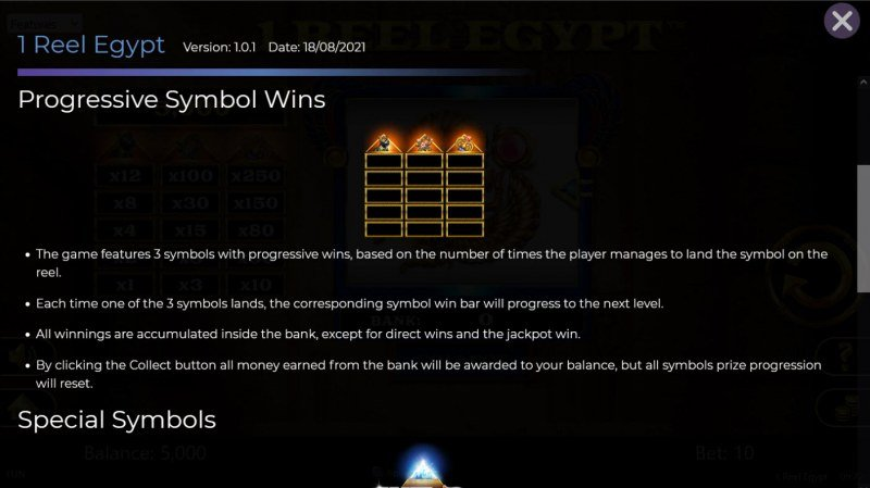1 Reel Egypt :: Progressive Symbol Wins