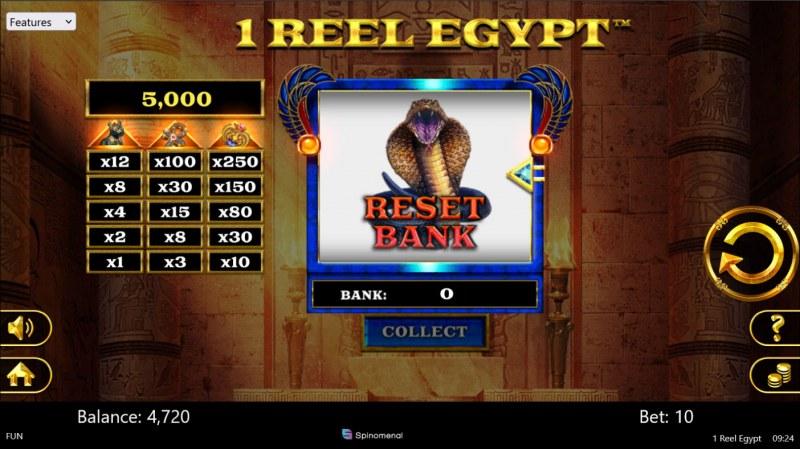 1 Reel Egypt :: Landing a snake symbol resets the bank to zero