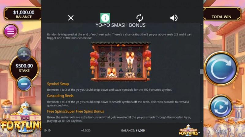 100 Fortunes :: Yo-Yo Smash Bonus