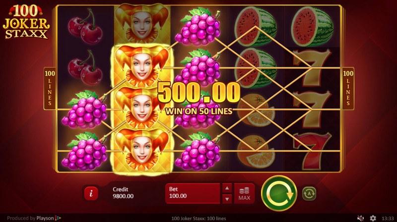 100 Joker Staxx :: Stacked wild symbols triggers multiple winning paylines