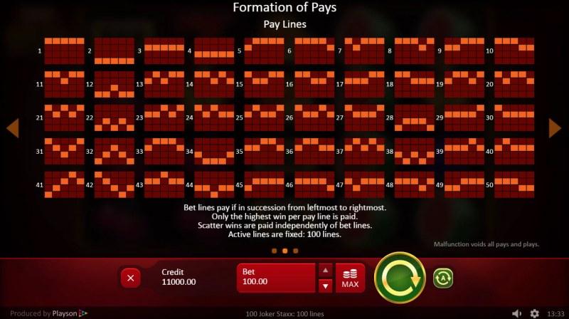 100 Joker Staxx :: Paylines 1-50