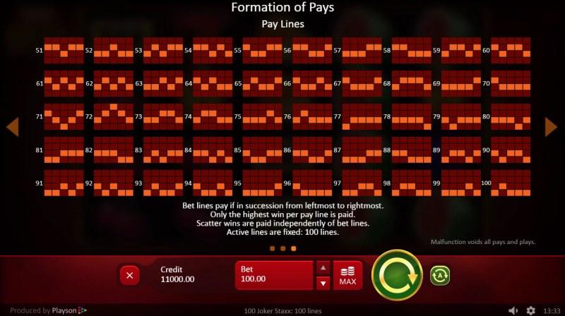 100 Joker Staxx :: Paylines 51-100