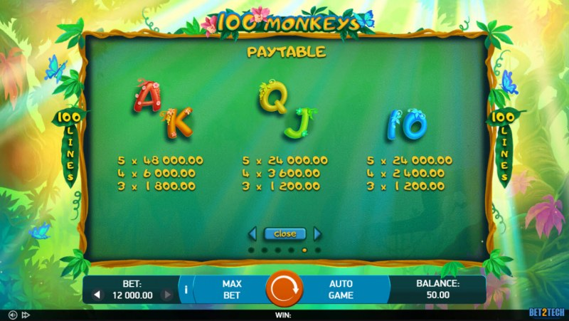 100 Monkeys :: Paytable - Low Value Symbols