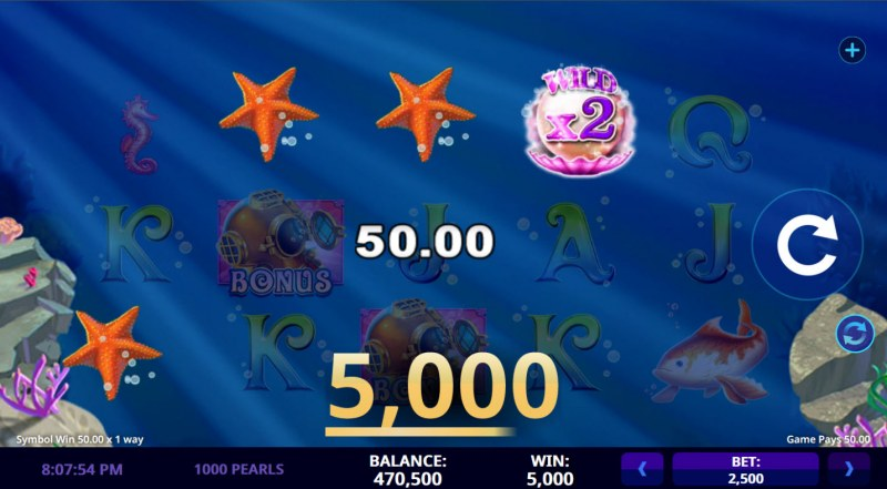 1000 Pearls :: A four of a kind win