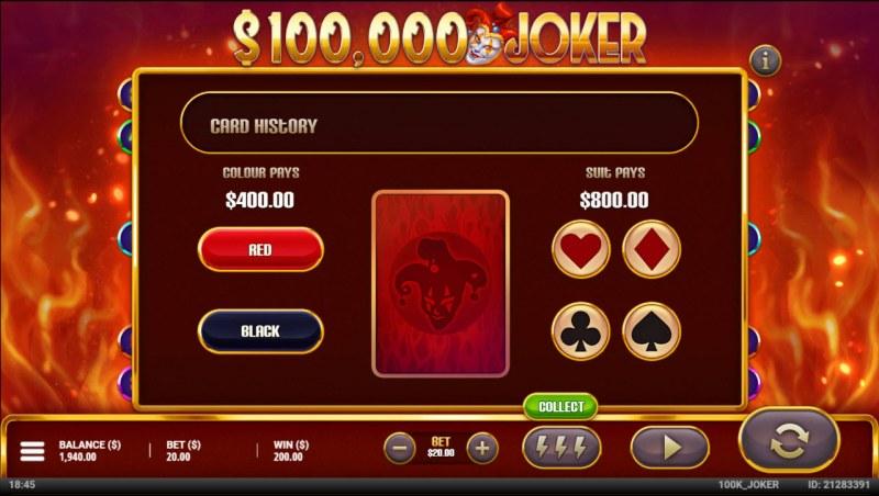 $100,000 Joker :: Gamble feature