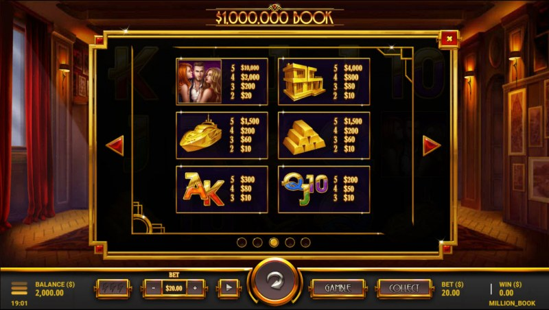 $1,000,000 Book :: Paytable