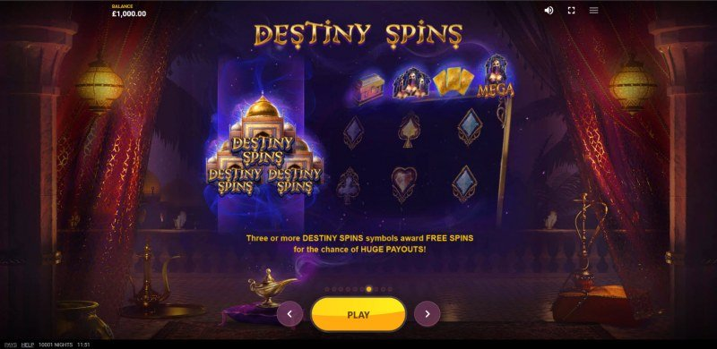 10,001 Nights :: Free Spin Feature Rules