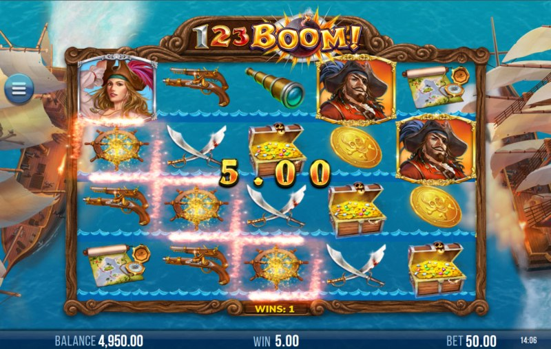 123 Boom! :: Winning symbols are removed from the reels and new symbols drop in place