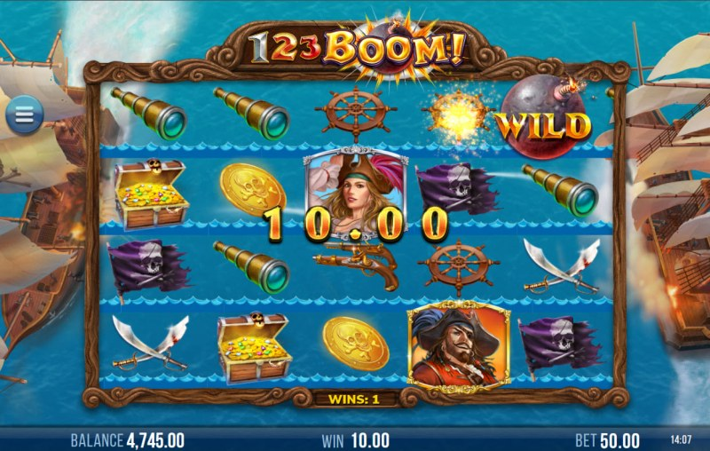 123 Boom! :: Cannon ball wild slides across the reels until a win is achieved