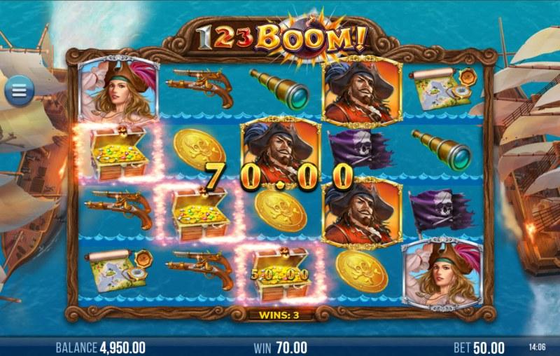 123 Boom! :: A three of a kind win