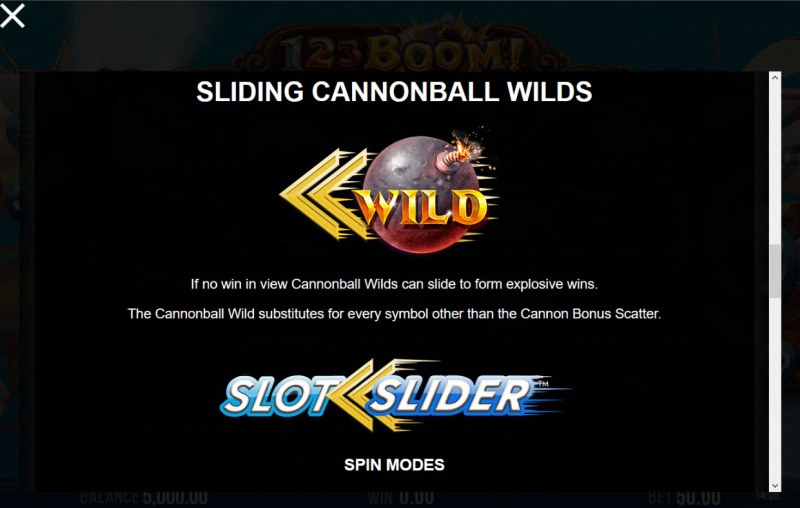 123 Boom! :: Sliding Cannon Ball Wilds