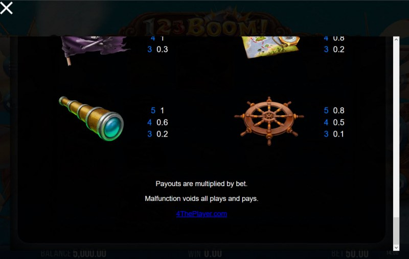 123 Boom! :: Paytable - Low Value Symbols