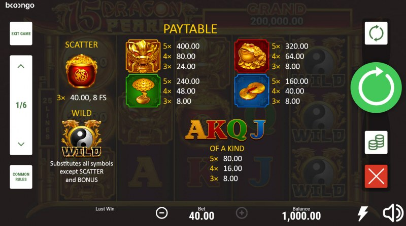 15 Dragon Pearls Hold and Win :: Paytable
