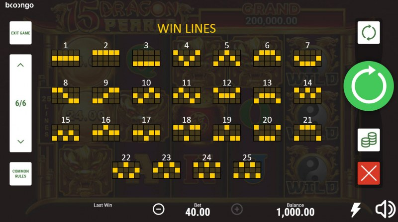 15 Dragon Pearls Hold and Win :: Paylines 1-25