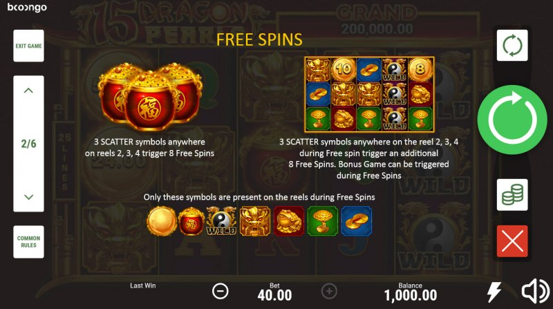 15 Dragon Pearls Hold and Win :: Free Spin Feature Rules