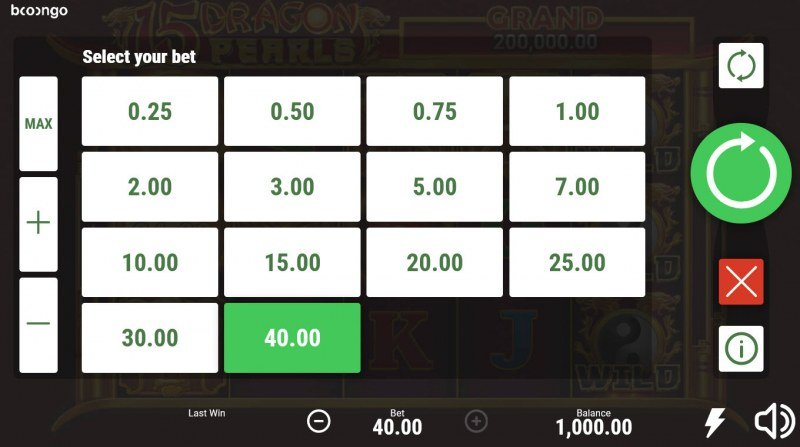 15 Dragon Pearls Hold and Win :: Select your bet