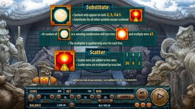 12 Zodiacs :: Wild and Scatter Symbols Rules and Pays
