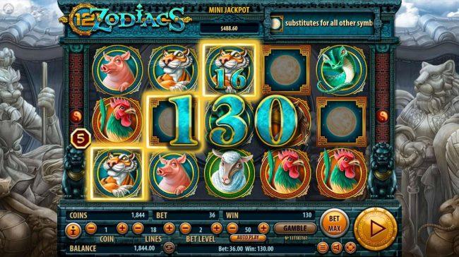 12 Zodiacs :: Multiple winning paylines triggers a big win!