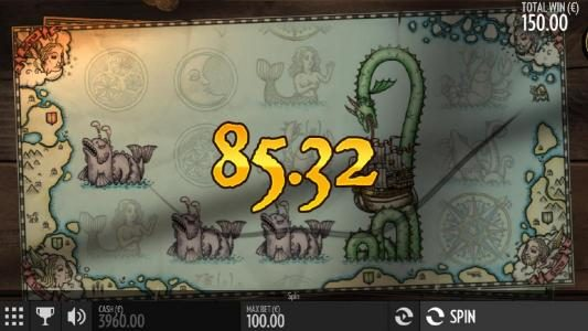 A combination of three serpent symbols and an expanded wild triggers an 85.32 payout.