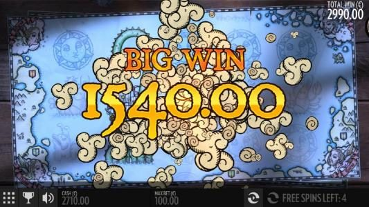 A $1,540 Big Win triggered during the Free Spins Feature