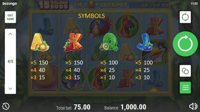15 Golden Eggs :: Low value game symbols paytable