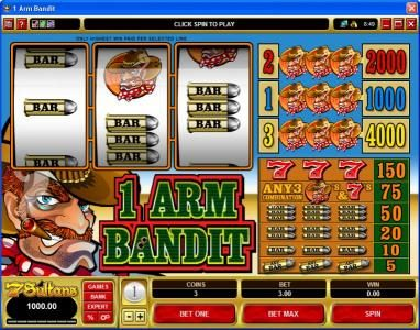 Play slots at Vegas Palms: Vegas Palms featuring the Video Slots 1 Arm Bandit with a maximum payout of $60,000