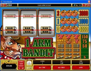 1 Arm Bandit :: 1 Arm Bandit Slot Game with 2 pay line win