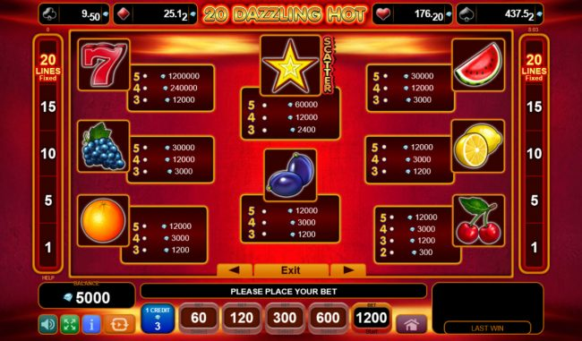 Karamba featuring the Video Slots 20 Dazzling Hot with a maximum payout of $120,000