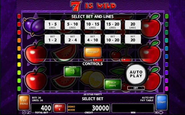 Orientxpress featuring the Video Slots 20 Star Party with a maximum payout of $20,000