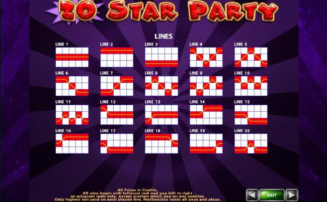 Campeon featuring the Video Slots 20 Star Party with a maximum payout of $20,000