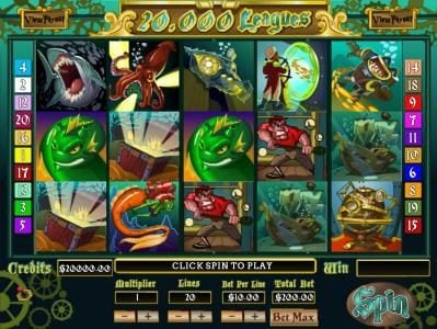 Main game board featuring five reels and 20 paylines with a $4,000 max payout