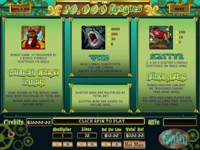 Golden Chest Bonus Game is triggered by three bonus symbols scattered on reels. Wild Symbol substitutes for one symbol except scatter and bonus. 3, 4 or 5 scatter symbols scattered on reels wins Free Spins.