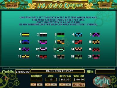 Payline Diagrams 1-20 Line wins pay left to right except scatters which pays any.