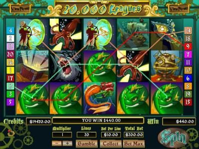 A $440 jackpot triggered by multiple winning paylines.