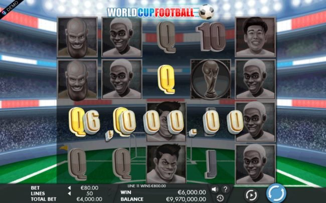 Slotty Vegas featuring the Video Slots 2018 World Cup Football with a maximum payout of $1,200,000