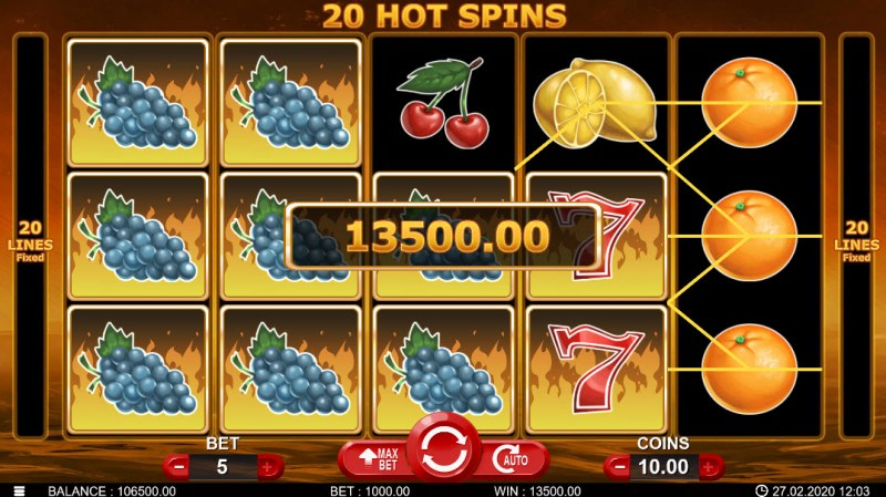 20 Hot Spins :: Multiple winning combinations leads to a big win