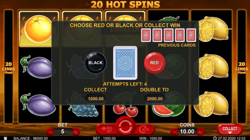 20 Hot Spins :: Black or Red Gamble Feature