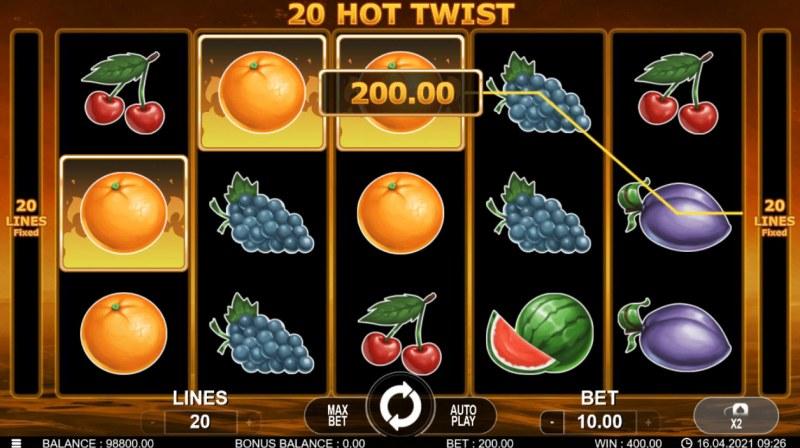 20 Hot Twist :: A three of a kind win